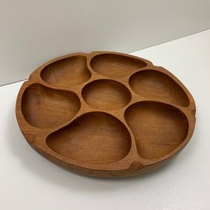 Other - Teak Divided Serving Platter Chip and Dip Tray